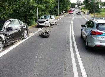 Jedna osoba ranna, pięć rozbitych aut