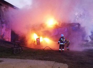 Poranny pożar kombajnu [FOTO]