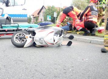Wypadek na rybnickim rondzie. Skuter zderzył się z samochodem [FOTO] [AKTUALIZACJA]