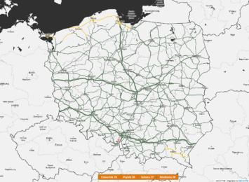 Mapa ostrzeże przed niebezpieczeństwem na drodze