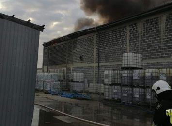 Pożar hali w Studzienicach. Z żywiołem walczyli strażacy i pluton ratownictwa chemicznego