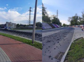 Rozsypany węgiel na Mickiewicza w Rydułtowach. Droga była nieprzejezdna [FOTO]