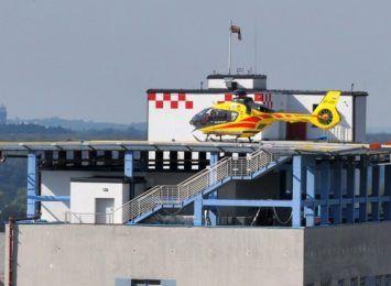 Cieszyn: Pożar śmigłowca LPR - strażacy ćwiczyli nietypową akcję [WIDEO]
